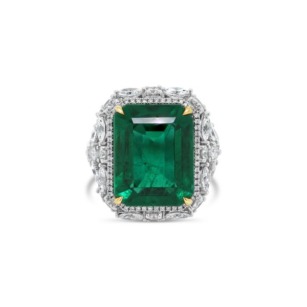 Vivid Zambian Emerald and Diamond Ring