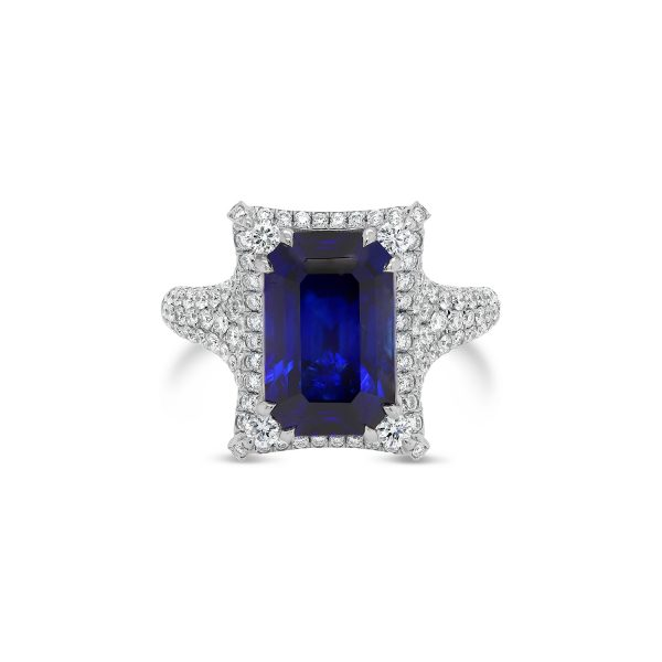 Royal Blue Ceylonese Sapphire and Diamond Ring