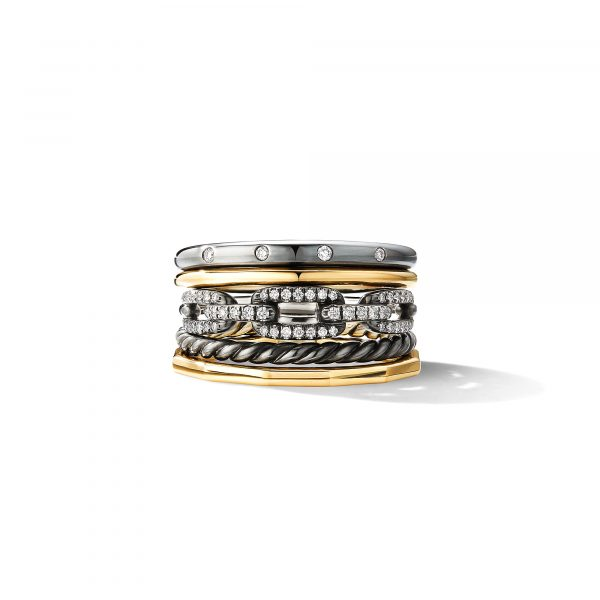 David Yurman Blackened Stax Wide Ring