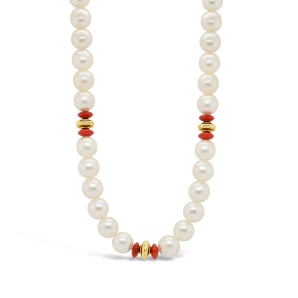 Akoya Pearl and Coral Necklace
