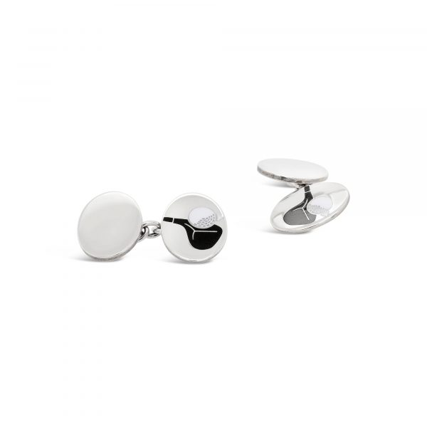 Deakin & Francis Enamel Golf Ball Cufflinks