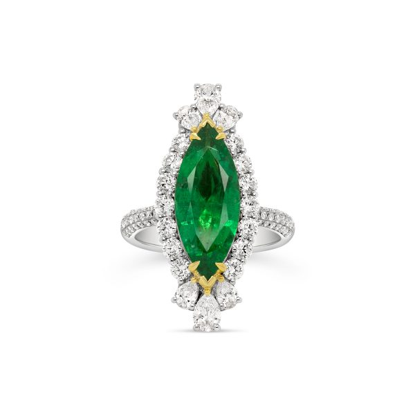 Marquise Zambian Emerald Halo Ring