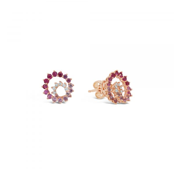 Ruby, Pink Sapphire and Diamond Spiral Earrings