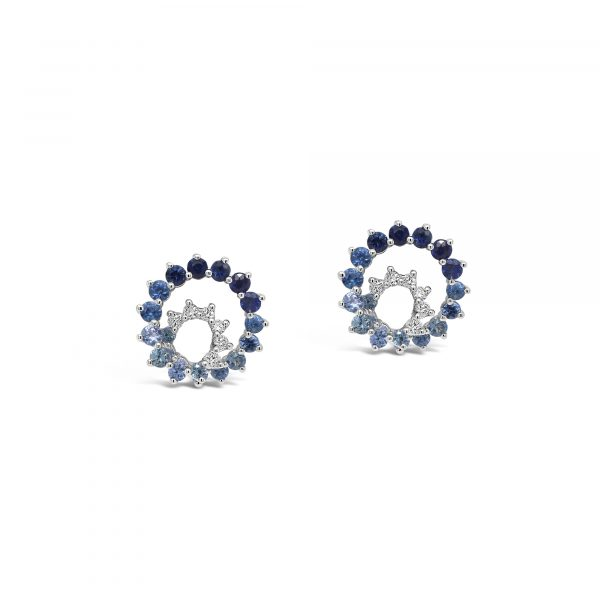 Blue sapphire and diamond spiral earrings
