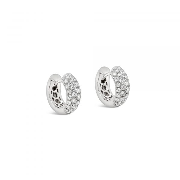Pavé diamond half-round hoop earrings