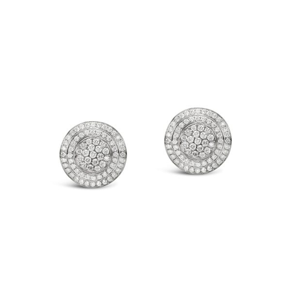 Double halo pavé set diamond earrings