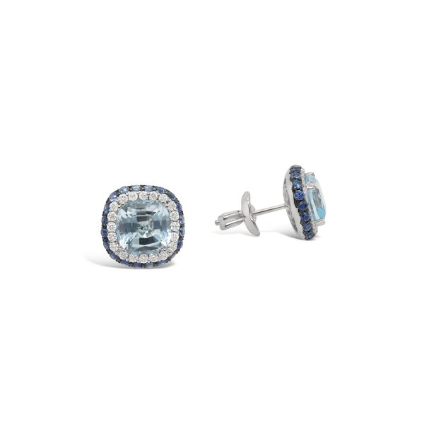 Blue Topaz and Sapphire Halo Earrings