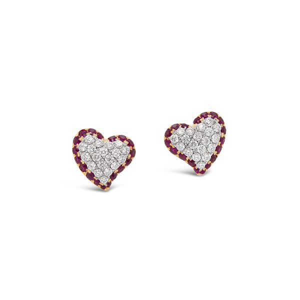 Pavé Diamond and Ruby Heart Earrings