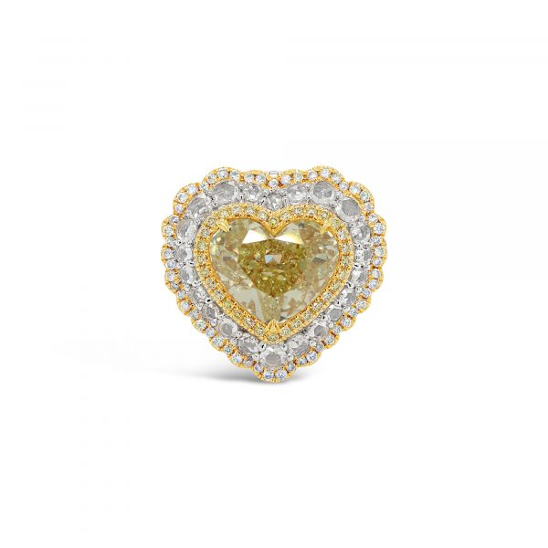 Yellow Diamond Heart Ring and Pendant