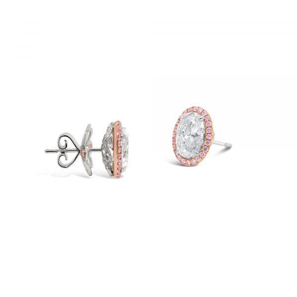 Argyle Pink and White Diamond Earrings