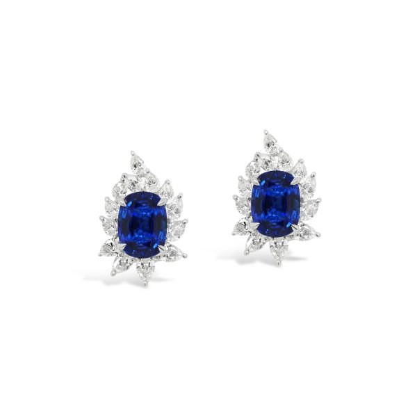 Royal Blue Sapphire and Diamond Earrings
