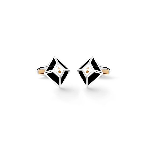 Barbarulo Napoli rhombus black white cufflinks